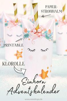 Ganz easy & schnell: der Einhorn Adventskalender von Minidrops.  Mit Bastelvorlage und Tutorial. Bastel dir deinen DIY Einhorn Adventskalender aus Toilettenpapierrollen. #einhorn  #adventskalender  #minidrops