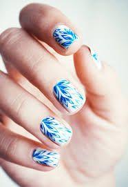 Nail art inspiration, pretty nails, autumn nails, creative nails, marbled n Get Nails, How To Do Nails, Hair And Nails, Fancy Nails, Nail Art Designs, Manicure, Creative Nails, Blue Nails, White Nails