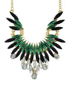 New Fashion Green Gemstone Beautiful Women Shourouk Necklace 5.59