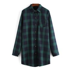 SheIn(sheinside) Green Black Lapel Plaid Pocket Loose Blouse (€15) ❤ liked on Polyvore featuring tops, blouses, green, loose tops, loose blouse, embellished tops, black long sleeve blouse and embellished collar blouse