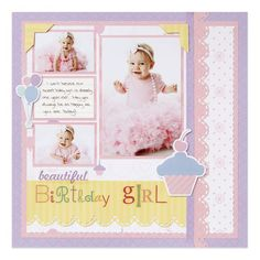 Border Maker-Scallop Stitch: Fabulous Baby Girl Scrapbook Layout