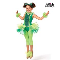 Sequin dot and matte lycra leotard with keyhole back and attached organza back skirt. Frog headpiece and wristlets are included. Mesh capri leggings and shoe bows are optional and can be purchased separately