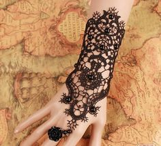 Retro Gothic Exaggerated Bride Gloves Black Lace Wedding Dress Accessories Bridesmaid Studio Jewelry Free Shipping Bracelet Ring-J348
