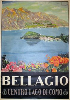 Vintage travel poster Cool Posters, Retro Posters, Vintage Italian Posters, Vintage Travel Posters, Poster Vintage, Vintage Signs, Vintage Art, Hotels, Lake Como Italy