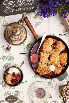 Rhubarb Blackberry Cobbler with Cornish Clotted Cream