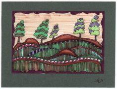 Rolling Hills Zentangle sketch
