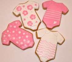 Pink baby suit cookies for baby shower by Miss Biscuit