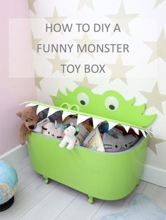 How to DIY a funny monster toy box - Spielzeug Kids Storage Boxes, Kids Toy Boxes, Toy Storage Boxes, Baby Room Furniture, Kids Furniture, Monster Bedroom, Kids Toy Chest, Diy Toy Box, Monster Toys