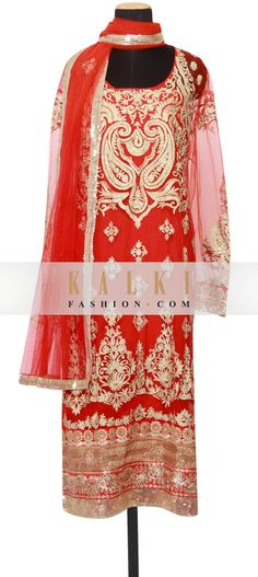 Buy Online from the link below. We ship worldwide (Free Shipping over US$100) http://www.kalkifashion.com/featuring-a-red-net-straight-fit-semi-stitched-salwar-kameez-embellished-in-zari-kundan-and-sequin-only-on-kalki.html
