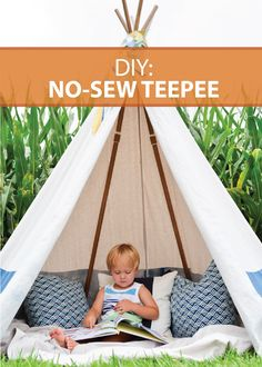 Make this beautiful No-Sew Teepee for a fun DIY project with the family! Perfect for inside and outside!