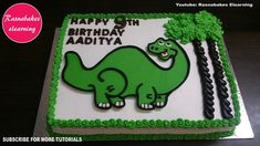 how to make easy dinosaur theme birthday cake for kids at home design ideas decorating tutorial Easy Kids Birthday Cakes, Easy Cakes For Kids, Birthday Cake Gift, Cartoon Birthday Cake, Friends Birthday Cake, Dinosaur Birthday Cakes, Frozen Birthday Cake, Cake Kids, Dinosaur Cake