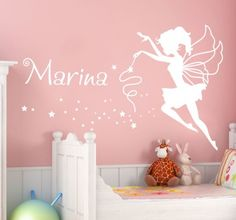 A perfect personalised wall decal that will add a magical touch to your little girls bedroom. Beautiful fairy design that will create a special atmosphere. Wall Decals Uk, Wall Stickers Uk, Wall Decals For Bedroom, Wall Murals, Girls Fairy Bedroom, Fairytale Bedroom, Fairy Room, Personalized Wall Decals, Kids Room Paint