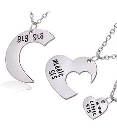 Family Jewelry Gift Big Sis Middle Sis Little Sis Love Heart Charm Pendant Necklace Set for Sister Pendants Sister Necklace, Necklace Set, Pendant Necklace, Little Sister Quotes, Girls Necklaces, Jewelry Necklaces, Double Heart Necklace, Best Friend Necklaces, Big Sis