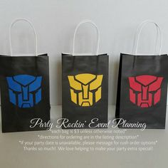 Transformers Autobots Inspired Party Favor by PartyRockinEvents Birthday Bag, Lego Birthday, 4th Birthday Parties, Rescue Bots Birthday, Transformers Birthday Parties, Transformer Birthday, Transformers Autobots, Party Favor Bags, Childrens Party