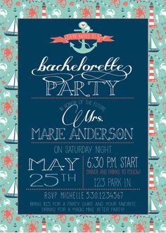 Nautical Bachelorette Party Invite by RAWkonversations on Etsy, $12.00