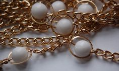 Vintage Funky White Plastic Beaded Chain Gold by yummytreasures, $4.99