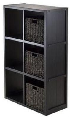 Black Book Shelf 6 Cube 3 Baskets Home Decor Organizer Wood Shelving Office