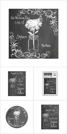 Chalkboard Mason Jar Wedding