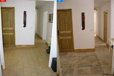 complete hallway transformation, new floor with design, new walls, doors, electrics, plastering.