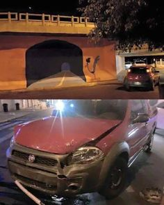 guy tries driving through painted roadrunner tunnel  http://www.mandatory.com/2016/03/16/a-graffiti-artist-painted-a-road-runner-tunnel-on-a-wall-and-som/