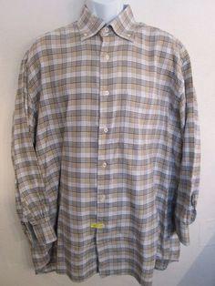 XMI Umbria  Multi Color Check  Dress Shirt Mens Button Down 17.5 R #XMIUmbria
