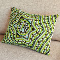 Knitted Green Star Pillow