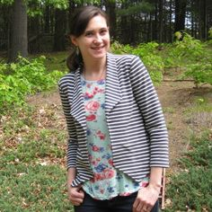 striped ponte morris blazer // notes from a mad housewife