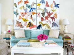 An Allyson Reynolds diptych adds a burst of color to a living room in Rye, New York.