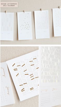 Seesaw Letterpress's gorgeous 2011 letterpress calendar. Hand-drawn patterns and printed in milky grey and gold foil inks.