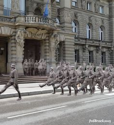 Germans soldiers marching at the Place de la Republique in Strasbourg. Strasbourg, Great Sword, North Platte, Honor Guard, German Uniforms, Change The World, Ghosts, World War Ii, Old Photos