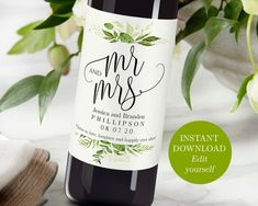 Printable Wedding Wine Bottle Labels Editable Wine Personalized Wine Label Printable Sticker Labels Custom Wine Labels Mr and Mrs Greenery Wine Wedding Favors, Wedding Wine Bottles, Inexpensive Wedding Favors, Wedding Labels, Personalized Wine Labels, Custom Wine Labels, Wine Bottle Labels, Custom Wine Bottles, Bottle Opener