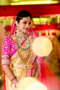With that beautiful smile, this little princess stole our hearts away! PC : Kamalkiranphotography Less Beautiful Indian Brides, Beautiful Bride, Saree Wedding, Wedding Gold, Indian Jewelry Sets, Indian Bridal Outfits, Bridal Blouse Designs, Before Wedding, South Indian Bride