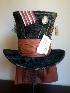 SALE - Limited Time - Tim Burton's Mad Hatter Top Hat, tea party, wedding, Halloween. $150.00, via Etsy.