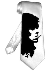 keith richards rolling stones necktie WHITE satin silk neck tie