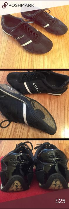 Coach sneakers Gently worn authentic Coach sneakers. Black with white logo. 6 1/2 Coach Shoes Athletic Shoes