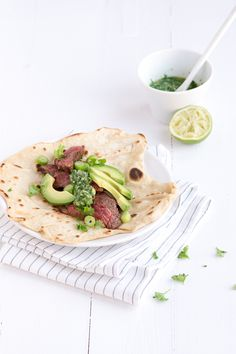 wraps met biefstuk en groene salsa - #steak taco's