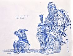 Jimmy and Fausto taking a break. Sketch by Richard Johnson, National Post Military Working Dogs, Military Dogs, Military Art, Military Uniforms, Military History, Cool Drawings, Drawing Sketches, Drawing Art, Sketching