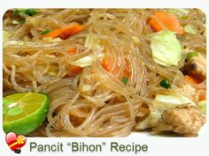 "Try this local and delicious Pancit Recipe - ""Bihon"" - Check out more Hawaiian Food and local style recipes here. Filipino Recipes, Asian Recipes, Ethnic Recipes, Filipino Food, Filipino Dishes, Guam Recipes, Falafel, Hawaiian Dishes, Hawaiian Recipes"