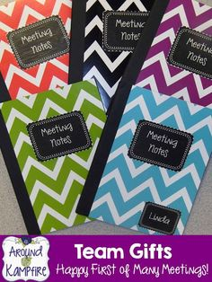 Happy First of Many Meetings! Team gift labels for meeting notebooks FREEBIE