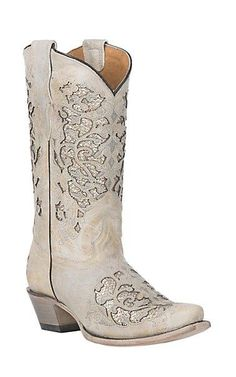 930afd96cac Corral Youth Bone Glitter Inlay with Embroidery Snip Toe Western Boot