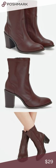 """Just Fab Gwendolnn Women's Leather Boots Sz 6, 8 New in box. Burgundy color. These boots were not only made for walking; they were made to kill the game! Step out on the town in Gwendolyn. She consists of faux leather and a 3.5"""" faux stacked heel. The best part is her shaft which is not quite mid-calf nor ankle grazer.  Gwendolyn hugs your legs at the perfect spot to accentuate the length regardless of your height.   Shoe Details •Approx. Heel Height: 3.5""""  •Approx. Platform Height: N/A…"""
