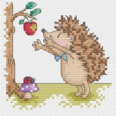 hedgehog 4 patrones de punto de Cruz por DureneJones - A set of four cross stitch charts of Mr. Hedgehog out and about in the sun. Would be suitable for cards or other small projects. Cross Stitch Cards, Simple Cross Stitch, Cross Stitching, Cross Stitch Embroidery, Embroidery Patterns, Hedgehog Cross Stitch, Cross Stitch Animals, Cross Stitch Designs, Cross Stitch Patterns