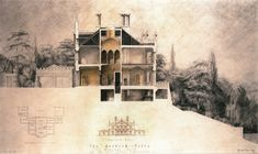 The Gothick Villa, Regents Park. Exhibited 1993 Drawn by Francis Terry, pencil on paper. Interior Architecture Drawing, Revival Architecture, Gothic Architecture, Architecture Plan, Architecture Student, Architectural Section, Architectural Sketches, Architectural Presentation, Section Drawing
