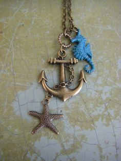 Anchor Seahorse Starfish Necklace Maritime by CHAiNGEthesubject, $24.00