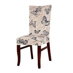 yunt funda protectora de silla extensible estampado diseño Original para salón/comedor/oficina (mariposa azul)