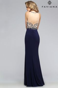 Jersey beaded bust with keyhole back #Faviana Style S7810 #PromDresses