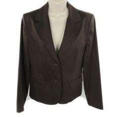 Kenar Jacket 8 Chocolate Brown Cotton Stretch Pockets Lined Womens Career Office #Kenar #Blazer #Career