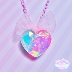 Holographic Heart Necklace- Pastel Aurora · Pastel Galaxyz · Online Store Powered by Storenvy Kawaii Jewelry, Kawaii Accessories, Cute Jewelry, Crystal Aesthetic, Pink Aesthetic, Unicorn Room Decor, Unicorn Fashion, Diy Resin Crafts, Hand Crafts