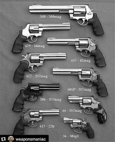 There are two main types of handguns available today, the pistol and the revolver. Women typically purchase pistols rather than revolvers so we are going to begin our discussion with the pistol. Smith And Wesson Revolvers, Smith N Wesson, Weapons Guns, Guns And Ammo, Zombie Weapons, Cool Guns, Awesome Guns, Big Guns, Tactical Gear