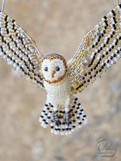 This item can be used for Barn Owl Suncatcher, Beaded Owl Ornament, Bird Necklace, Owl Bird Lover Gift, Barn Owl Figurine Owl Ornament, Bird Ornaments, Beaded Ornaments, Ornament Crafts, Beaded Jewelry Patterns, Beading Patterns, Beaded Crafts, Jewelry Crafts, Bird Necklace